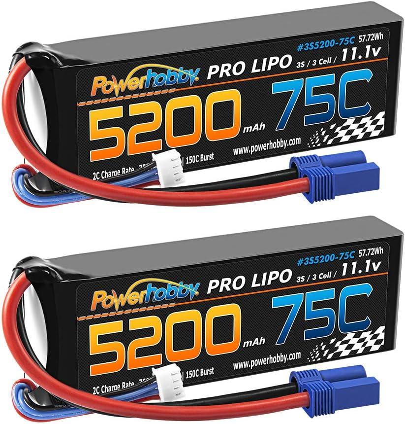 期間限定今なら送料無料 PowerHobby 3S 11.1V 5200mAh 75C Lipo Battery 国内正規総代理店アイテム Plug Pack 2 w 3 EC5