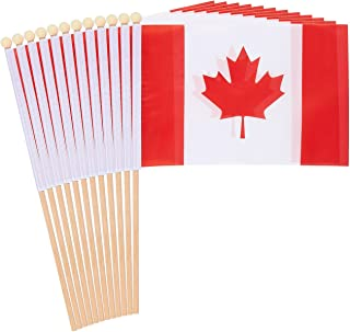 Juvale 12-Piece Canada Stick Flags - Canadian Hand-held Flags, Polyester Country Stick Flag Banners, Decorations for Parties, Parades, Sports Events, and International Festivals- 5.5 x 8.3 Inches