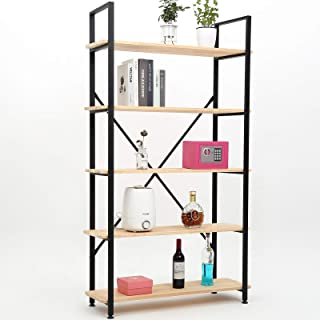 Yuanshikj 5-Tier (70x32x14 inch) Industrial Style Bookshelf Metal Bookcase Shelf Shelves Shelving Furniture for Collection Storage Home Office Kitchen Rack Stand Sturdy Organizer (Only Hardware)