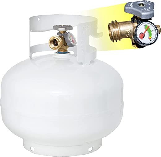 Flame King YSN11SQT 11 Pound Propane Tank Cylinder Squatty with Type 1 OPD Valve, White