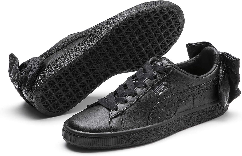 Amazon.com | PUMA Womens Basket Bow Court Sneakers Black 6.5 ...