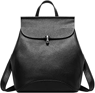 Heshe Leather Backpack Casual Backpacks Daypack for Womens and Ladies (Black)
