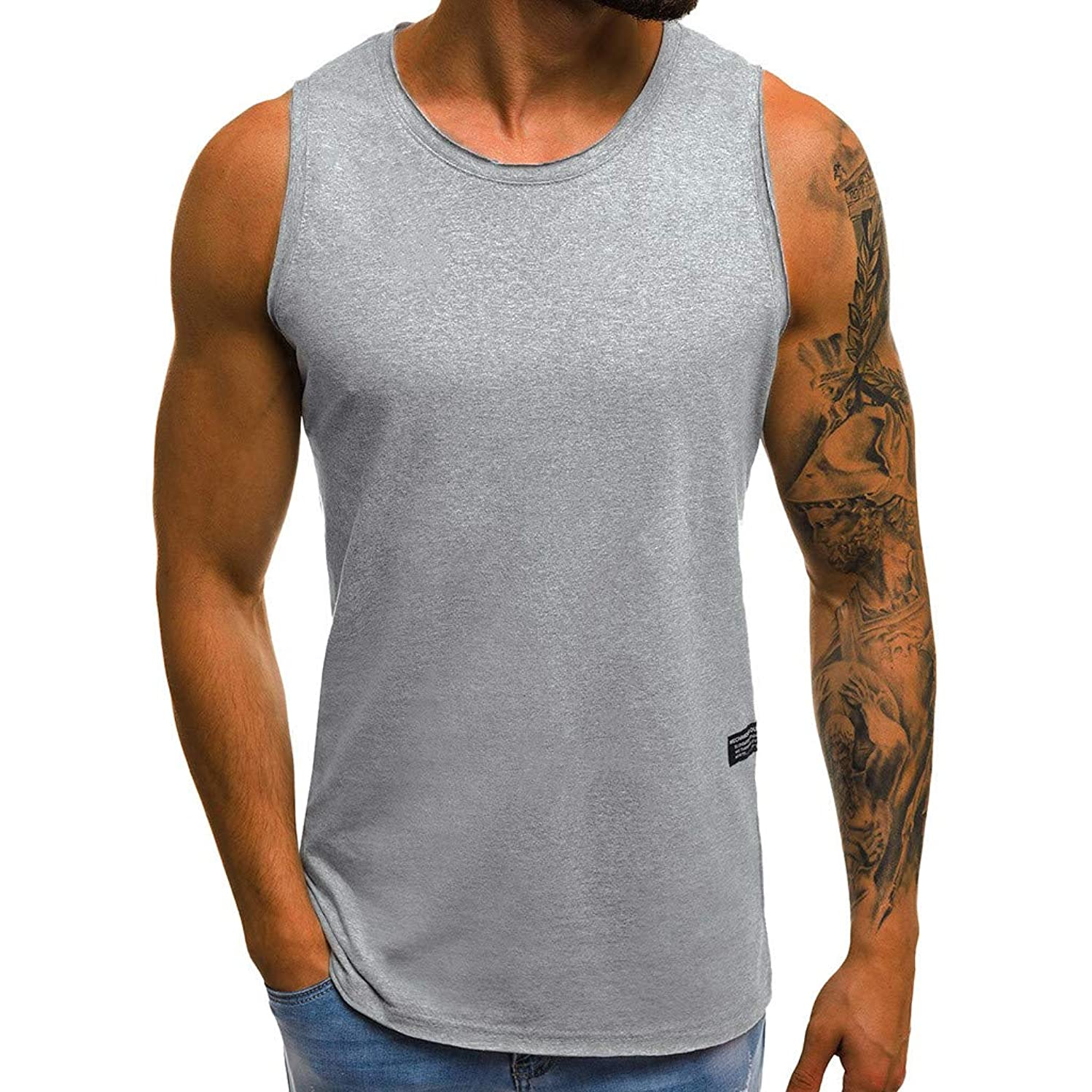 NIKAIRALEY T-Shirt Men's Muscle Gym Workout Stringer Tank Tops Bodybuilding Fitness T-Shirts Sports Running Vest Blouse tees