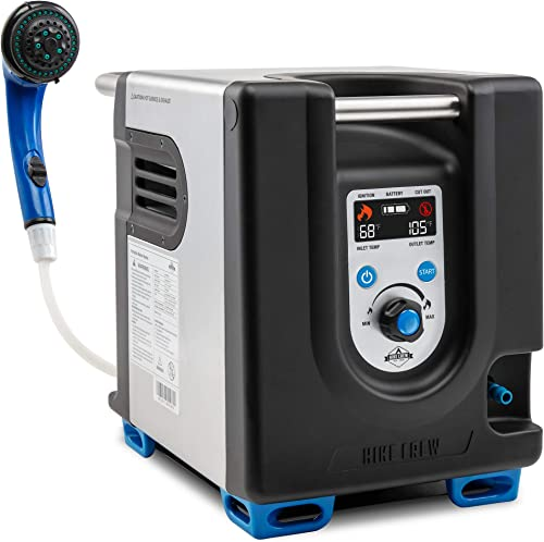 lowest Hike Crew Portable Propane Water Heater & Shower Pump w/Built-in Battery   Compact Outdoor Cleaning & Showering System online sale w/LCD, Safety Shutoff & Carry outlet sale Case, Instant Hot Water for Camping & Hiking online