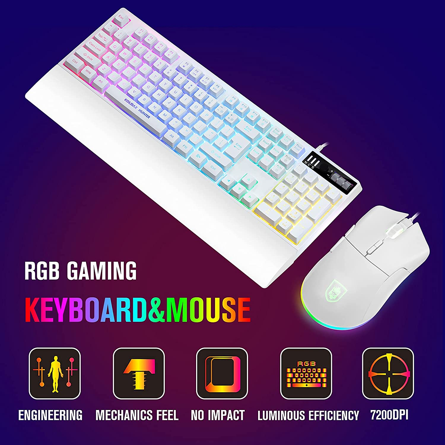 White RGB Gaming Keyboard and Mouse Combo,RGB Mechanical Feel Gaming Keyboard with Ergonomic Detachable Wrist Rest, Programmable 7200 DPI 7 Button RGB Gaming Mouse for Windows PC Mac Office/Gaming