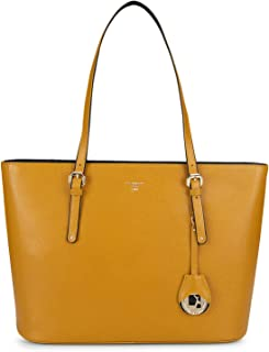 Da Milano Women's Yellow Leather Tote Bag