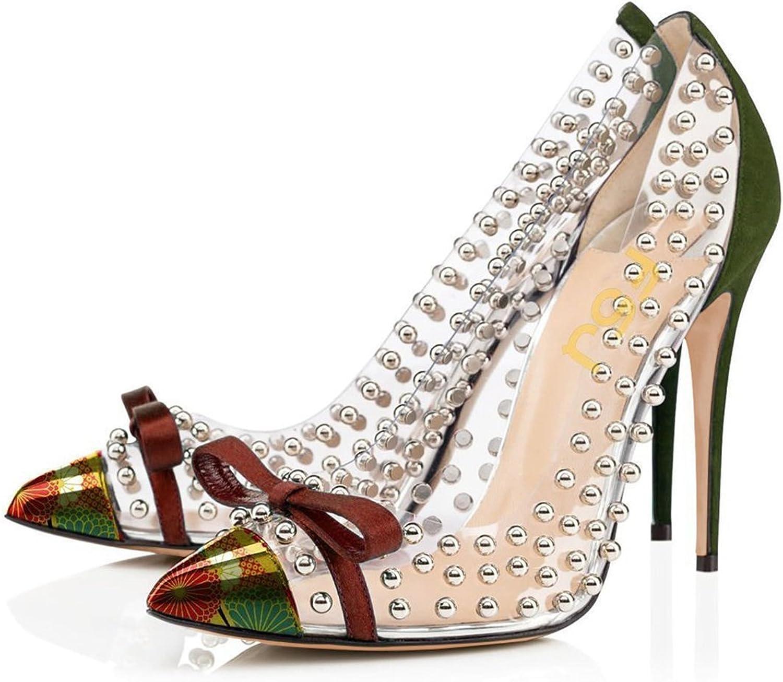 FSJ Kvinnor studerade spetsspetsig tå genomskinlig pump High klackar klackar klackar skor med söt Bowknop Storlek 4 -15 US  i stadionens kampanjer