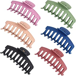 Lomodo 6 Pieces Plastic Large Hair Clips Claw 4.4 Inch Banana Hair Claws Clip French Design Accessories for Women Girls Ve...