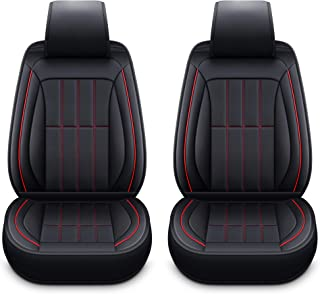 LUCKYMAN CLUB 2 Front Bucket Seat Covers Fit Most Sedan SUV Truck Fit for Chrysler 300 300C 200 Aspen Chevy Silverado Equinox Malibu Impala (2 PCS Front, Black and Red)