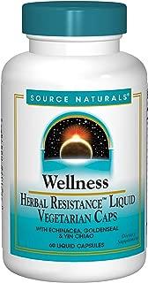 Source Naturals Wellness Herbal Resistance Liquid Immune Defense Supplement & Immunity Booster with Echinacea, Elderberry & Yin Chiao - 60 Veggi Caps