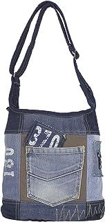 Sunsa Damen Tasche Umhängetasche Handtasche klein Canvas bag mit Jeans und Leder Vintage Design Teenager Taschen praktische Geschenke Bags for Women Schultertasche Damentaschen