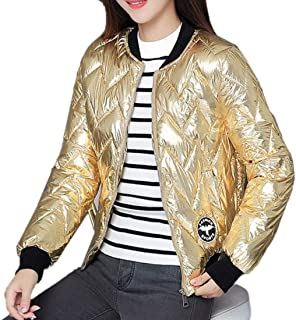WSPLYSPJY Womens Zip Front Stand Collar Bomber Metallic Quilted Slim Fit Short Coat