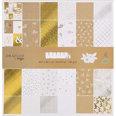 Toga Papier 30 x 30 Scrapbooking, Or et Blanc, 30,5 x 30,5 cm