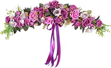 Lvydec Artificial Rose Flower Swag, 25 Inch Decorative Swag with Purple Fake Roses Green Leaves and Silk Ribbon for Wedding Arch Front Door Wall Decor