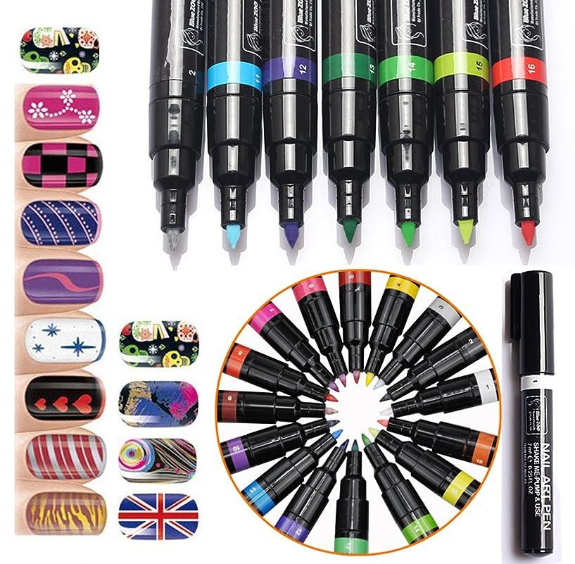 免疫する誠実正午(メイクアップエーシーシー) MakeupAcc カラーネイルアートペン 3Dネイルペン ネイルアートペン ネイルマニキュア液 ペイントペン ペイント 両用 DIY 16色 (16色) [並行輸入品]