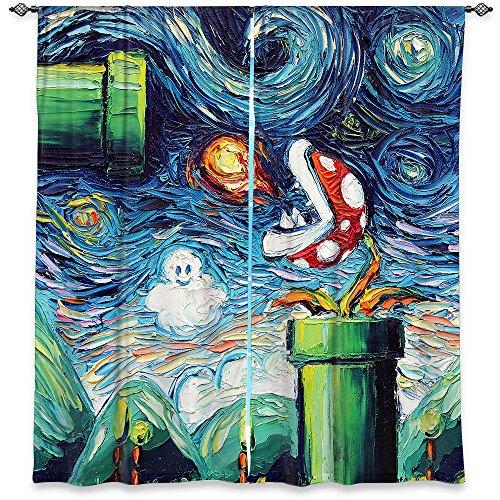 Dia Noche Unlined Window Curtains Aja Ann - Van Gogh Super Mario Bros 2