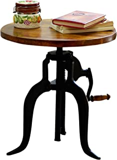 Carolina Chair and Table Brook Adjustable Crank Accent Table, Chestnut/Black