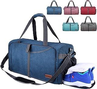 CANWAY Faltbare Reisetasche Leicht Sporttasche mit Abnehmbar Schulterriemen & Schuhfach Reisegepäck für Reisen Sport Gym Urlaub Blau, 115L
