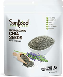 Sunfood Superfoods Chia Seeds - Raw, Organic, Whole - Omega Rich & Heart Healthy Keto Super-Seed - Great for Weight-Loss -...