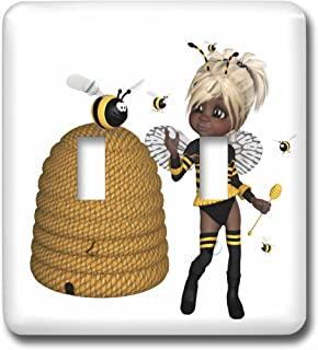3dRose LSP/_54438/_1 Yellow and Brown Whimsical Bees Toggle Switch