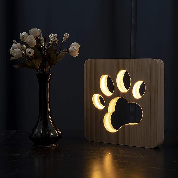 194 opinioni per Hyindoor Lampada da notte a LED in legno cane lampada con ricarica USB,