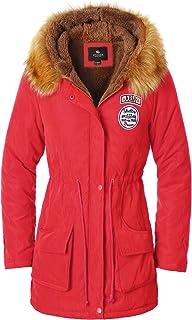 Escalier Women's Military Hooded Warm Winter Faux Fur Lined Parkas Anroaks Long Coats