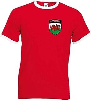 Walijski Cymru retro piłka nożna/drużyna rugby herb narodowy T-shirt