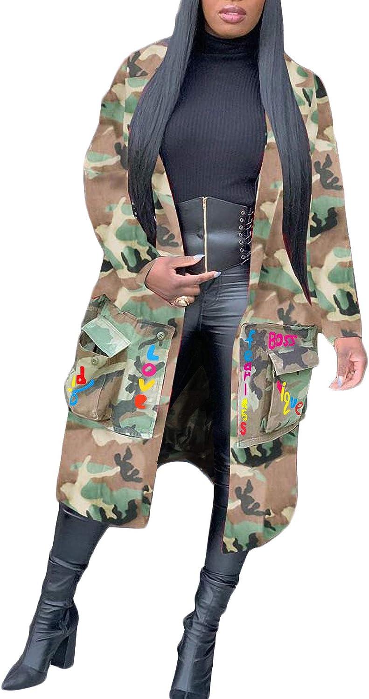 Vakkest Camo Blazer Jacket for Women Lapel Long Sleeve Open Front Cardigan Coat Classic Pockets Overcoat