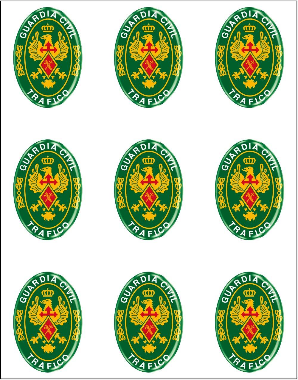 Artimagen Pegatina óvalos Logo Guardia Civil Tráfico 9 uds. Resina 16x11 mm/ud.: Amazon.es: Coche y moto