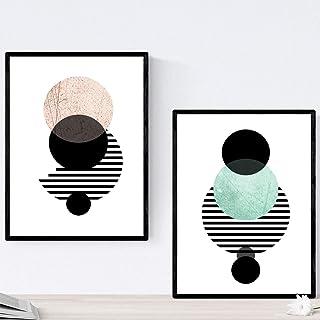 Éclipse Lunaire. Nordic Style Posters pour la décoration de la Maison Format A4. Bandes avec des Images géométriques de St...