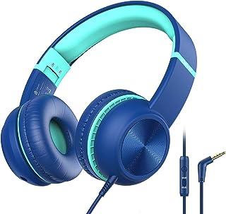 iClever słuchawki dla dzieci, reduktor głośności z mikrofonem, składane, nylonowy kabel AUX 3,5 mm, słuchawki dziecięce na...