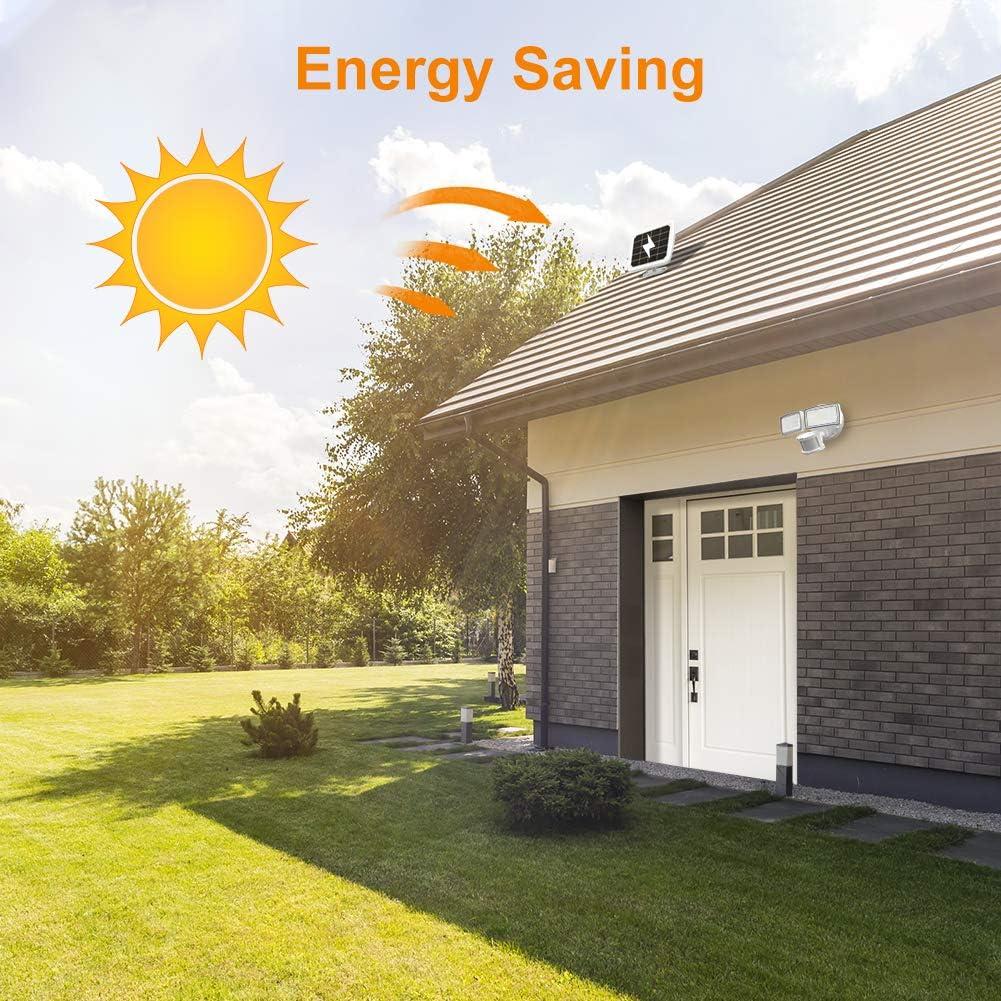 LEPOWER 1000LM Solar LED Security Lights Mtion Outdoor Patio Black IP65 Waterproof Solar Flood Light for Garage 2 Adjustable Head Solar Motion Sensor Light Yard 5500K White Light