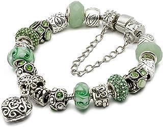 "RUBYCA Silver Tone European Charm Bracelet 7.9"" Green Murano Glass Beads DIY Jewelry Making Kit 25"