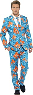 Smiffys Men's Goldfish Suit Blue with Jacket Trousers and Tie