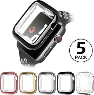 Compatible with Apple Watch Case 38mm40mm 42mm 44mm,5 Pack Soft TPU Ultra-Slim Lightweight Bumper Scratch Resistant Protective Case Cover Compatible with Apple Watch Series 5 4 3 2 (5Pack)