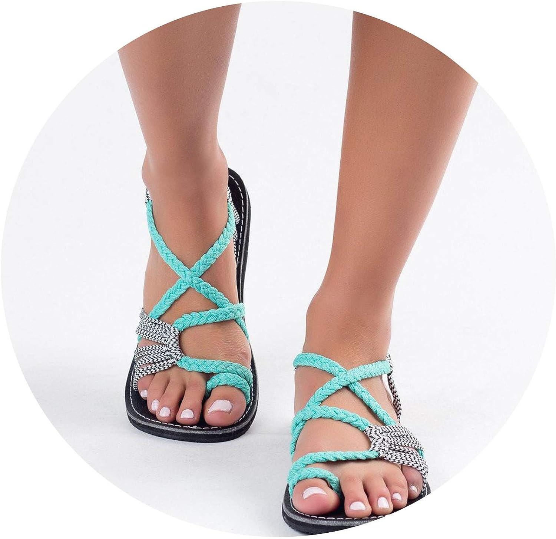 Large Size Flat Soled Women Sandals Summer Peep Toe Flat shoes,Green White,10