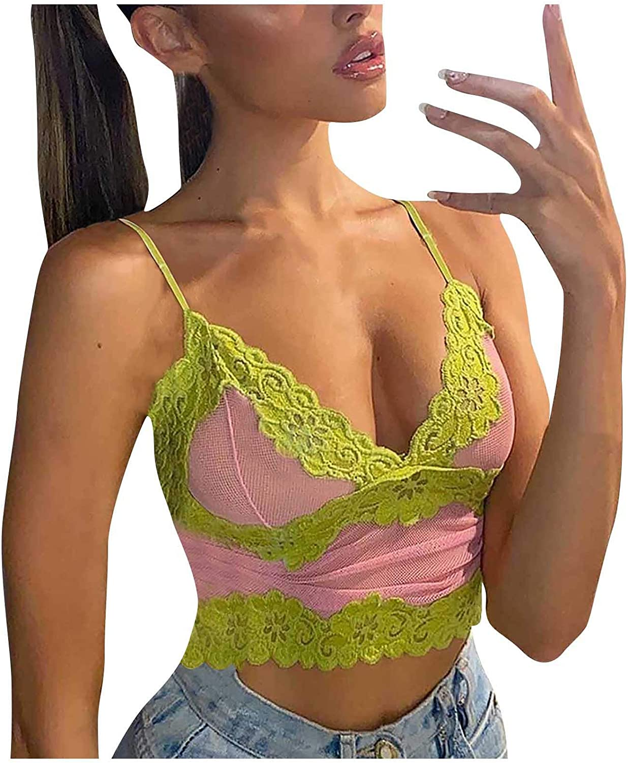 MASZONE Sexy Crop Tops for Women Solid Color Halter Neck Tank Tops Slim-fit Spaghetti Strap Camisole Tops Streetwear
