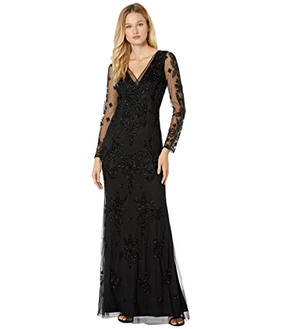 Adrianna Papell Beaded Swirl Evening Gown with Illusion Sleeve (Black) Women