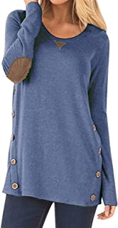 Womens Tunics T-shirts, Long Sleeves O Neck Spring Tops Blouse Tee with Buttons Hemline Shirts Tee (Color : Blue, Size : S...