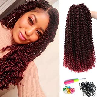 6Pcs Passion Twist Hair Ombre Red 18 Inch Long Bohemian Braids for Passion Twist Crochet Braiding Hair Hot Water Setting Synthetic Fiber Natural Hair Extension (18, T118)