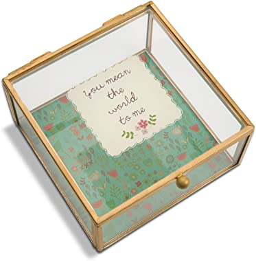 Pavilion Gift Company A Mother's Love - You Mean The World to Me Floral Glass Jewelry Box 4.25 Inch, Floral, Teal
