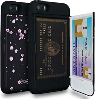 TORU CX PRO Compatible with iPhone 5/iPhone 5S/iPhone SE Case - Protective Dual Layer Wallet Floral with Hidden Card Holde...
