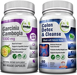 Colon Cleanser Detox for Weight Loss & Garcinia Cambogia Extract 1000mg Bundle - 14 Day Diet Pills, Metabolism Booster, Carb Blocker, Fat Burner & Appetite Suppressant for Men & Women