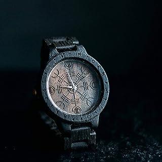 Helm of awe watch | Vikings men's watch | Mens gift watch | bog oak watch for man | Asatru engraving and customization