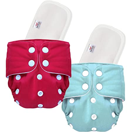 Mylo Essentials 100% Cloth Diapers for Babies (0 - 2 Years), Reusable, Washable & Adjustable Nappies Snap Buttons and Wet-Free Insert Pads (Multicolor (Pack of 2)