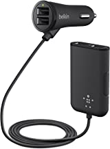 Belkin Road Rockstar with 4 USB Ports for Front and Backseat Charging, 2 Front Seat USB Ports with Shared 2.4 Amp and 1 Backseat Dual-Port Hub with 2.4 Amp/Port