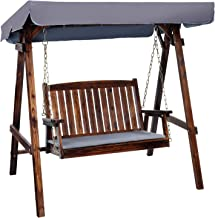 Outdoor Swing Chair, Gardeon 2 Seater Garden Hanging Chair Wooden Bench Outdoor Furniture with Canopy and Removable Cushio...