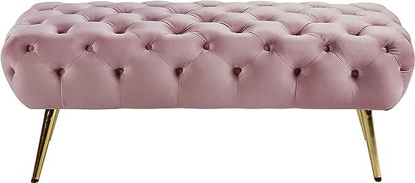 子午线家具 138 粉色阿玛拉系列现代现代粉色天鹅绒软垫长凳,带有深纽扣簇绒不锈钢腿,金色饰面 48 W X 20 5 D X 19 H