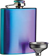 BarCraft Exotic Rainbow Iridescent Brushed Steel Hip Flask with Easy Pour Funnel 100ml 3.38 fl oz