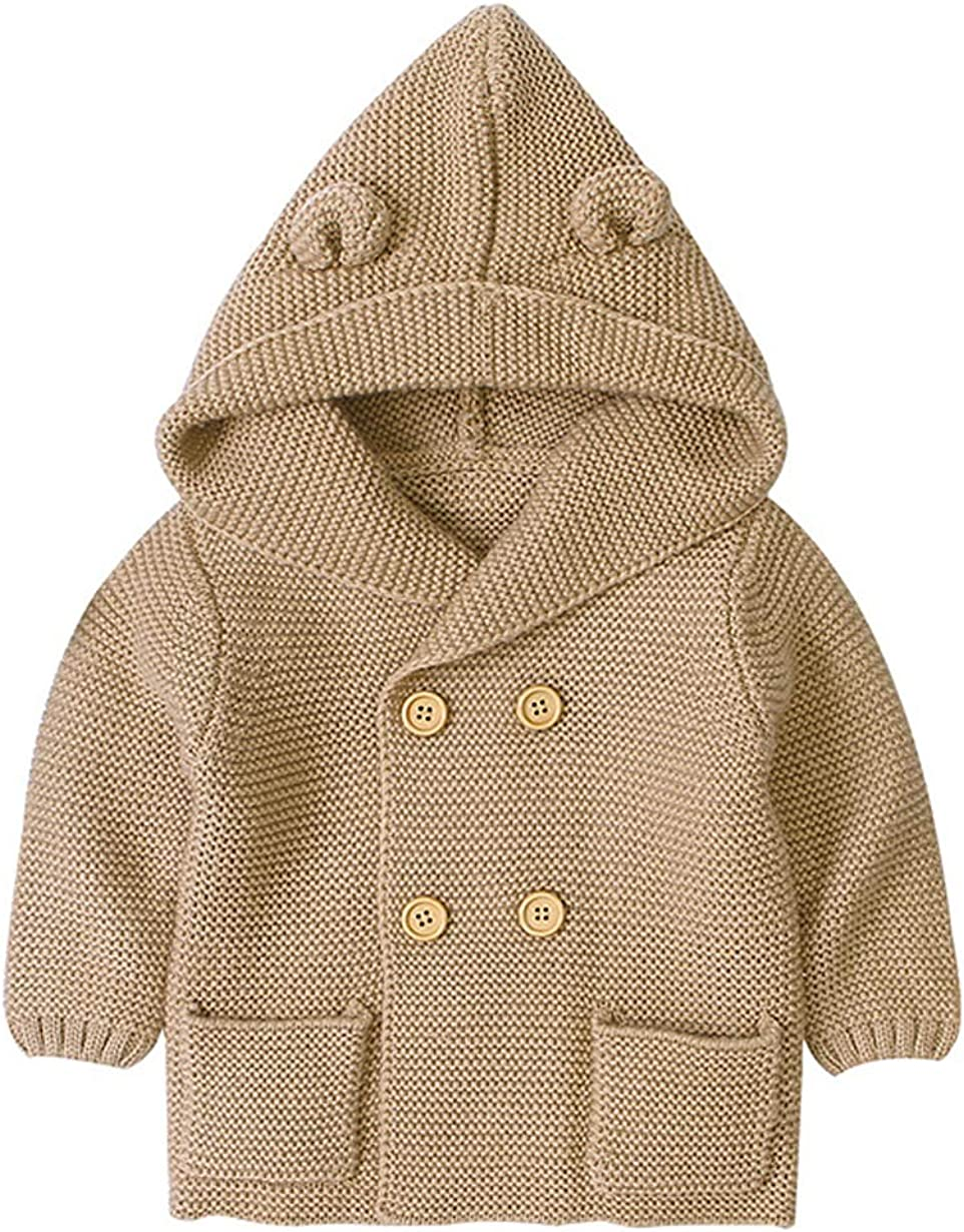 Newborn Baby Max 59% OFF Ranking TOP18 Girls Boys Button A Hooded Knitted Cardigan Sweater